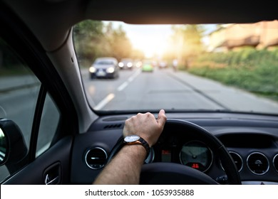 Driving in the sun on a ca