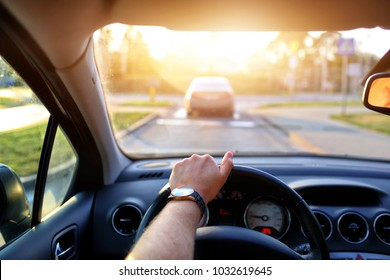 Driving in the sun on a car