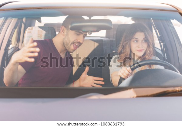 Driving Test Male Instructor Teaches Inexperienced Stock