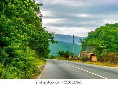 Driving through the countryside mountains in Saint Catherine Parish, Jamaica.