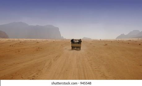 Driving through the desert, Jordan
