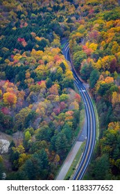Driving Through Fall Color in New England  - Aerial