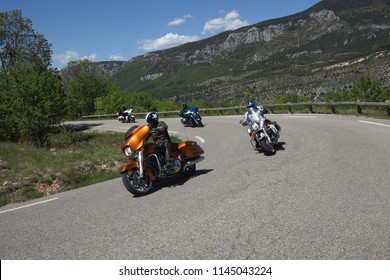 Driving through the Gorges du Verdon, Provence in France by Harley Davidson motorbike, Gorges du Verdon, Provence/France - May 9 - 2014