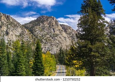 Driving through the Sierra mountains towards Sonora pass on a sunny autumn day, California