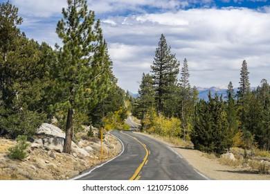 Driving through the Sierra mountains towards Sonora pass, California