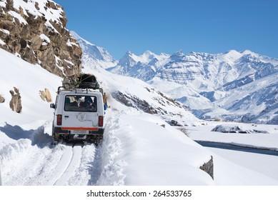 Driving through snow, Spiti valley, Himachal Pradesh, India