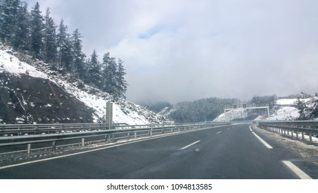 Driving through the snowy Mountains - Pyrenees (Spain/France)