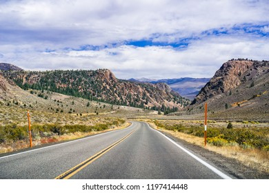 Driving through the Sonora Pass in the Eastern Sierra mountains on a sunny fall day; California