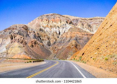 Driving through the steep, rocky mountains of the Panamint Range, Death Valley National Park, California