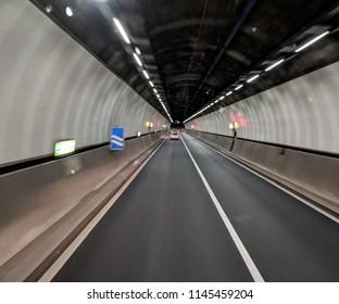 Driving through a tunnel