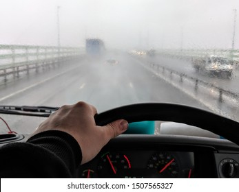 Driving a truck in the mist - foggy day