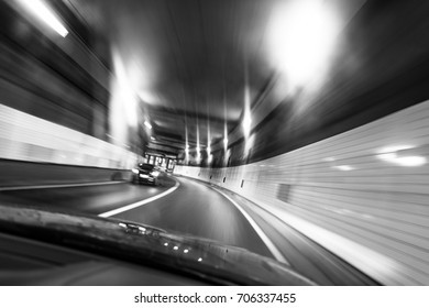 Driving in a tunnel in Tokyo.