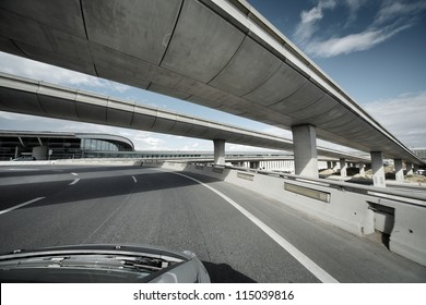 Driving under overpass road bridges.
