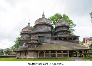 Drohobych, Ukraine - May 20 2018- St. George's Church in Drohobych, Lviv Oblast, Ukraine. It is part of the World Heritage Site - Wooden Tserkvas of the Carpathian Region in Poland and Ukraine.