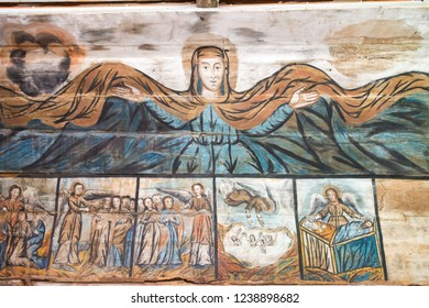 Drohobych, Ukraine - May 20 2018- Ancient Mural at St. George's Church in Drohobych, Ukraine. It is part of the World Heritage Site - Wooden Tserkvas of the Carpathian Region in Poland and Ukraine.