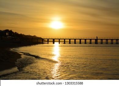 Dromana Pier at sunset - Mornington Peninsula, Victoria, Australia