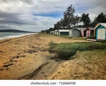 Dromana public beach with stormy sky