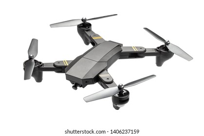 Dron helicopter with a camera. Quadcopter isolated on white background