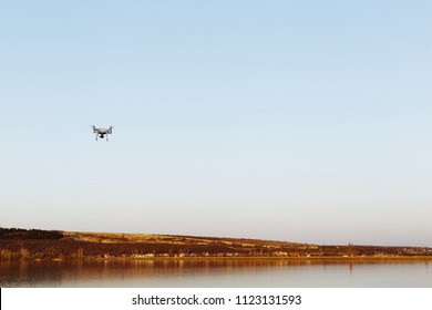 Drone above the lake
