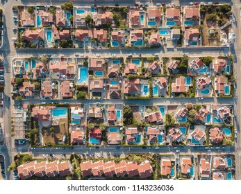 Drone Aerial Above Houses With Pools Spain Balearic Island Menorca
