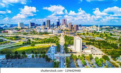 Drone Aerial of Atlanta, Georgia, USA Skyline.