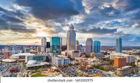 Drone Aerial of Downtown Charlotte, North Carolina, NC, USA Skyline.