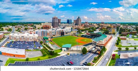 Drone Aerial of Downtown Greensboro North Carolina NC Skyline
