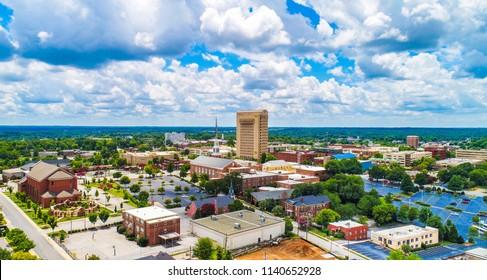 Drone Aerial of Downtown Spartanburg South Carolina SC Skyline.