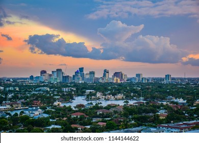 Drone Aerial of Fort Lauderdale Florida FL Skyline at Sunrise.