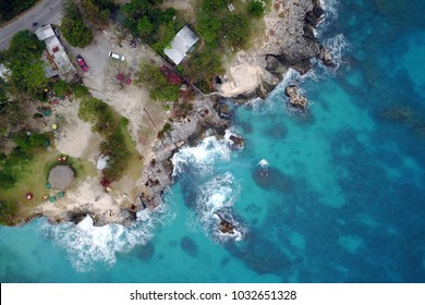 Drone aerial image of 3 Dives Point on the western coast of Jamaica near Negril.