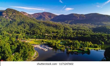 Drone Aerial of Lake Lure in North Carolina NC.