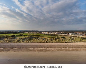 Drone aerial landscape image of Littlehampton on English South coast at sunrise