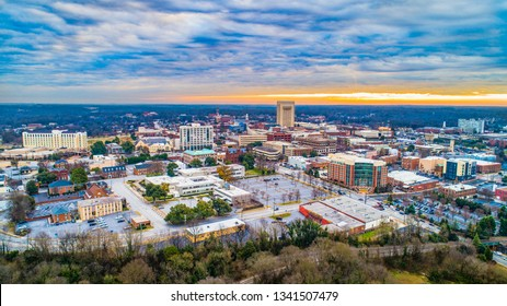 Drone Aerial of Main Street in Downtown Spartanburg, South Carolina, USA.