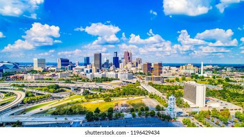 Drone Aerial Panorama of Atlanta, Georgia, USA Skyline