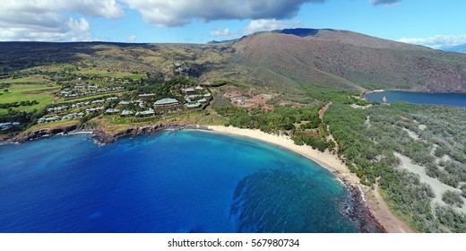 Drone Aerial Panorama - Hulupoe Bay - Island of Lana'i, Hawaii