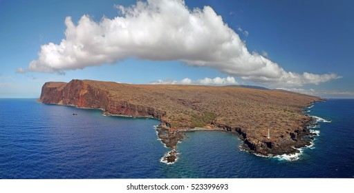 Drone Aerial Panorama - Island of Lanai - Hawaii