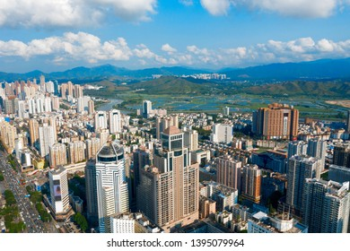 Drone aerial photo of the city of shenzhen, China