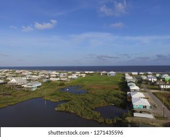 Drone aerial photo of houses in Grand Isle, Louisiana