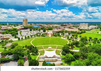 Drone Aerial of Spartanburg South Carolina SC Skyline
