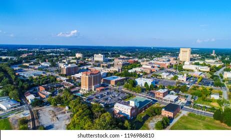 Drone Aerial of Spartanburg, South Carolina, USA Skyline
