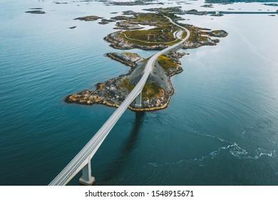 Drone aerial view of Atlantic Ocean Road or the Atlantic Road (Atlanterhavsveien), Norway