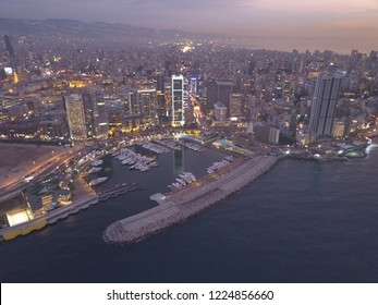 Drone aerial view of beautiful sunset in Beirut, Lebanon - Middle East capital city