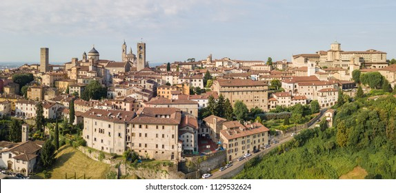 Drone aerial view of Bergamo - Old city. One of the beautiful town in Italy. Landscape to the city center and its historical buildings