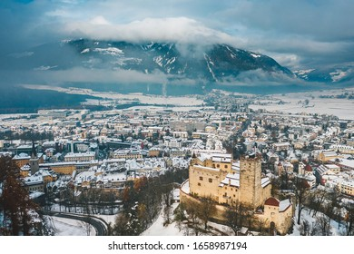 Drone aerial view of Bruneck in winter. It is the largest town in the Puster Valley in the Italian province of South Tyrol, Italy