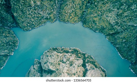 """Drone aerial view of view of canyon of """"Sil"""" river. Galicia, Spain."""