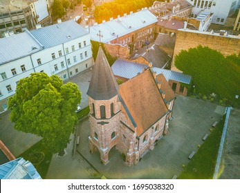Drone aerial view of Church of St. Gertrude, Kaunas, Lithuania