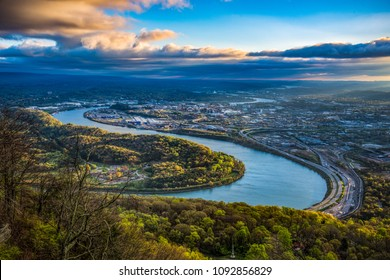 Drone Aerial View of Downtown Chattanooga Tennessee TN and Tennessee River