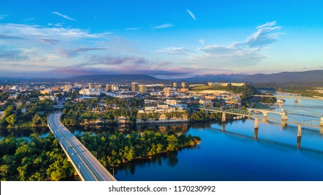 Drone Aerial View of Downtown Chattanooga Tennessee TN Skyline and Tennessee River