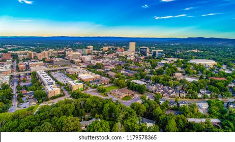 Drone Aerial View of the Downtown Greenville, South Carolina SC Skyline