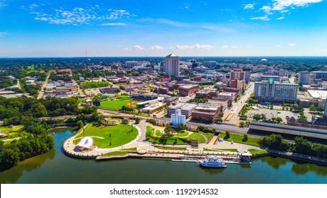 Drone Aerial View of Downtown Montgomery Alabama AL Skyline